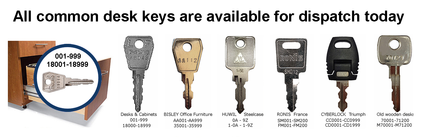 The replacement key number is stamped on the front of our locks